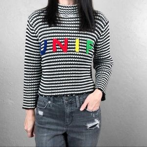 UNIF Cropped Sweater Black and White Striped